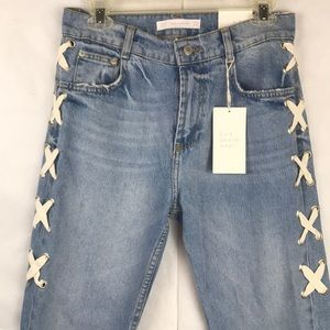 NWT Zara Trafaluc lace-up straight cut jeans